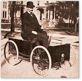 Henry Ford driving the Quadricycle 1896
