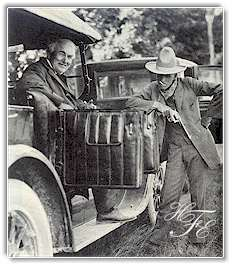 Henry Ford clowns while Thomas Edison beams during a rest stop on a camping trip. This picture is probably the only one  ever taken of Ford with a cigarette. The auto king and Edison both abhorred the use of